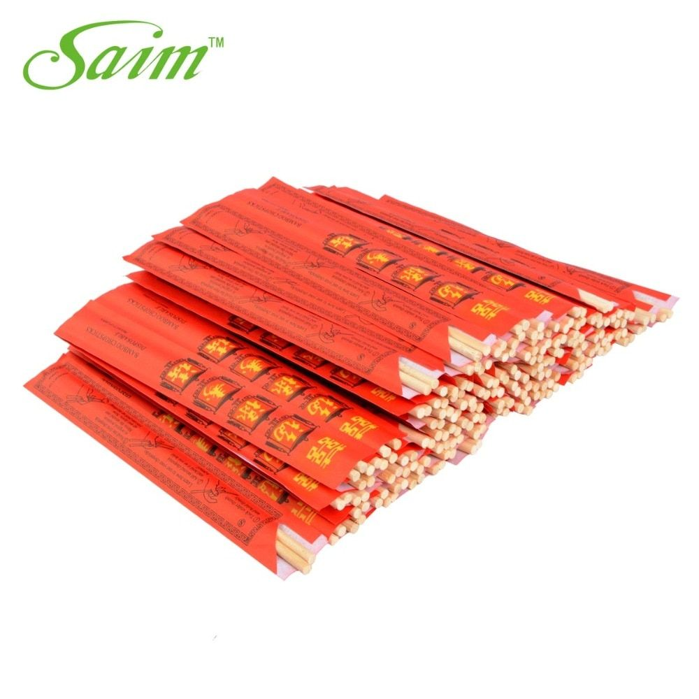 100 paires/sac nouvelles baguettes chinoises jetables bambou écologique baguettes en bois Fu symbole baguettes Set baguettes de cuisine