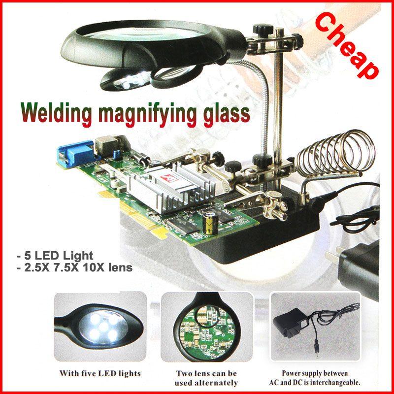 De soudage loupe 5 LED Lumière 2.5X 7.5X 10X lentille Auxiliaire Clip loupe bureau Loupe troisième main à souder Outil De Réparation