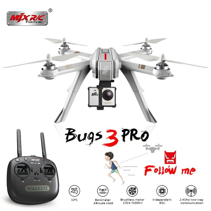 MJX Bugs 3 Pro B3 Pro RC Drone with 720P/1080P Wifi FPV Camera GPS Follow Me Mode Brushless RC Helicopter Quadcopter VS Bugs 5W