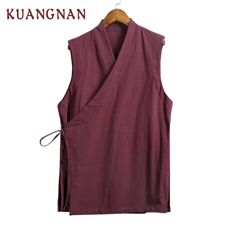 2018 Summer Chinese Style Linen Men Casual Shirt Camisa Social Masculina Mens Shirts Chemise Homme Male Sleeveless Shirt 4XL