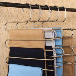 Nouveau Pantalon Pantalon Vêtements Suspendus Cintre Inoxydable Stee 5 Couches Vêtements Économiseur D'espace De Stockage Propre Outils