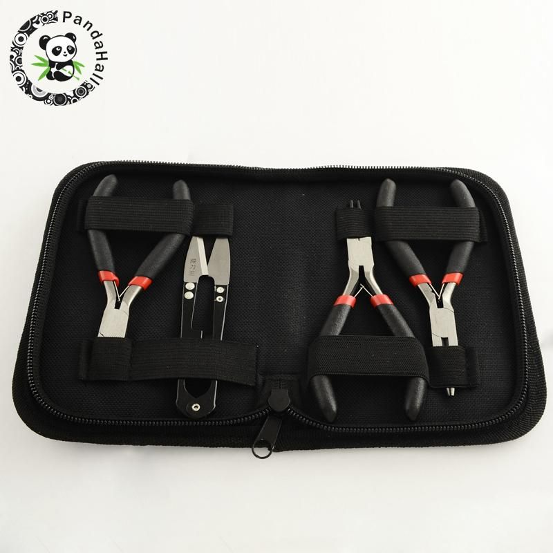 Jewelry Tools Pliers Sets Jewelry Making Kit 45# Steel Side Cutting Pliers/Wire Cutter/Round Nose Pliers and Scissors Black