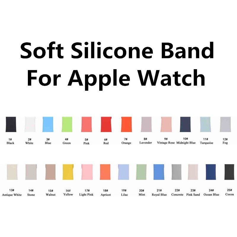 Colorful Soft Silicone Replacement Sport Band For 38mm 42mm Apple Watch 4 3 2 1 44mm 40mm Wrist Bracelet Strap For iWatch belt