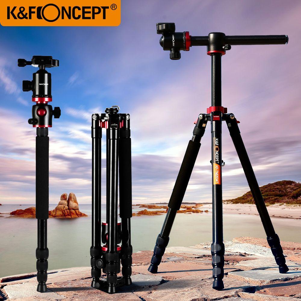 K & F CONCEPT Professional 180'appareil photo pliable monopode à trépied léger avec rotule + sac de transport pour Canon Sony Nikon...