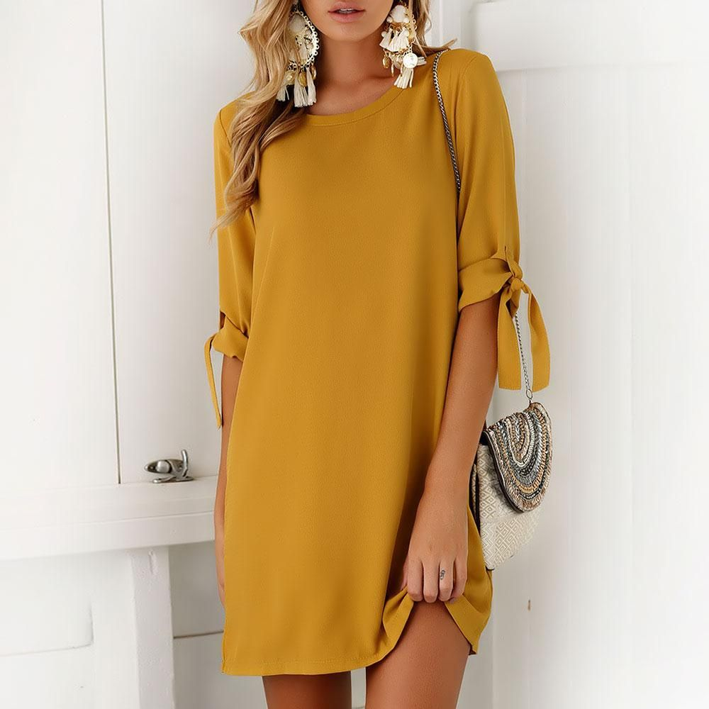 Women Autumn Dress Spring O-Neck Bowtie Bow Long Sleeves Solid Female Yellow Color Party Dress Fashion Vestidos 2017 New Hot