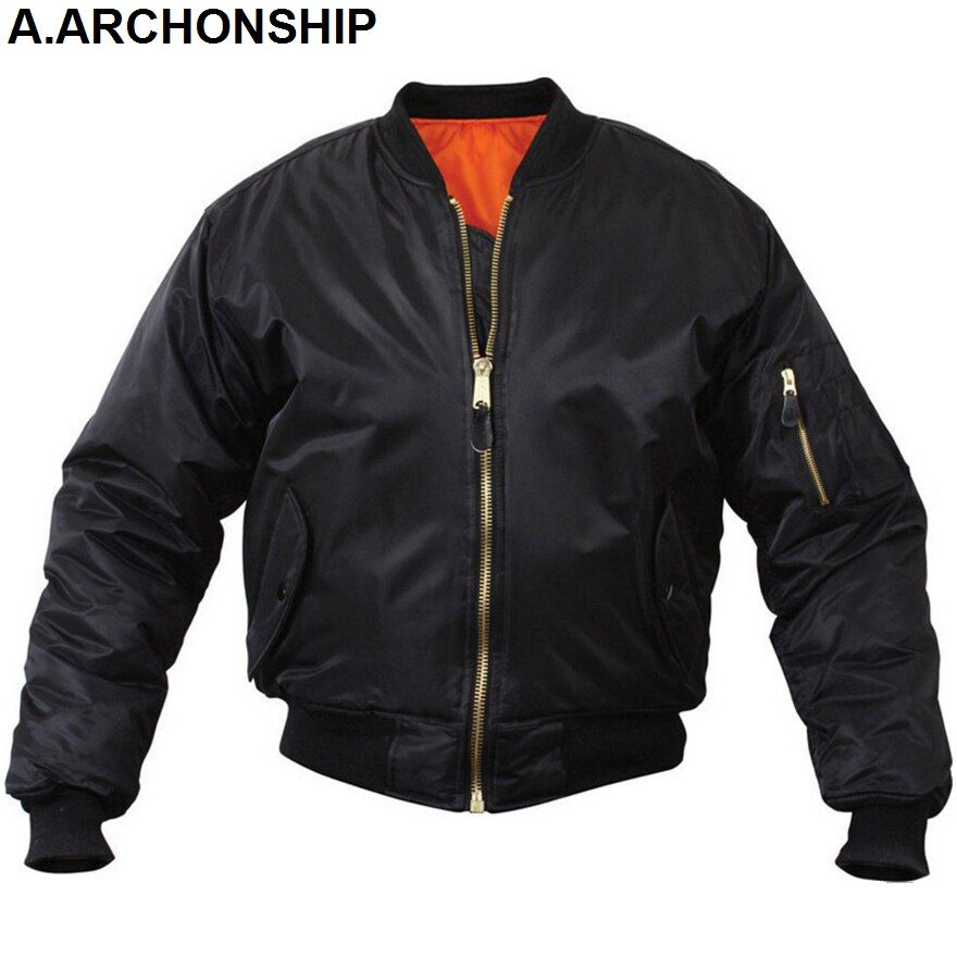 MA1 Men Winter Warm Military Airborne Flight Tactical Bomber Jacket <font><b>Army</b></font> Air Force Fly Pilot Jacket Aviator Motorcycle Down Coat