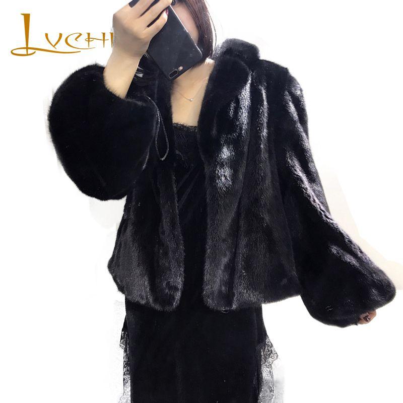 LVCHI Winter2017 Full Pelt Mink Fur Coat Women's Full Lantern Sleeve Fur Coat Causal Turn-Down Collar Loss Short Mink Fur Coats