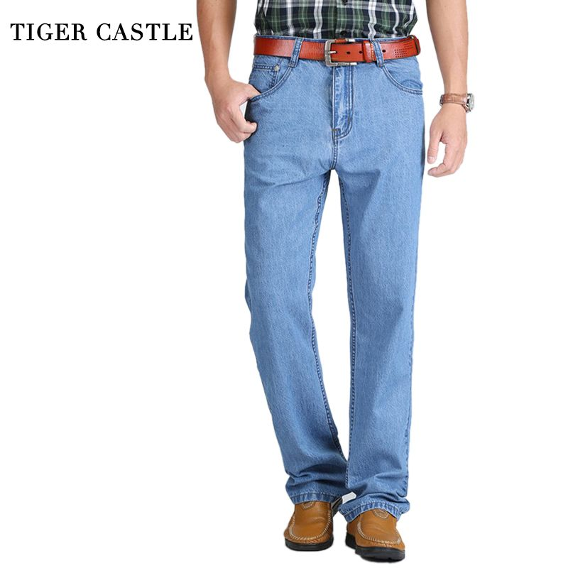 TIGER CASTLE Summer <font><b>Thin</b></font> Cool Men Jeans Large Size Baggy Blue Trousers Cotton Casual Male High Waist Washed Denim Pants