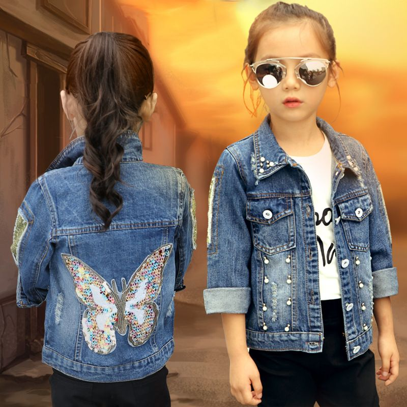 2019 grandes filles Denim veste Cardigan manteau enfants Jean Outwear papillon broderie paillettes enfants vêtements printemps vêtements