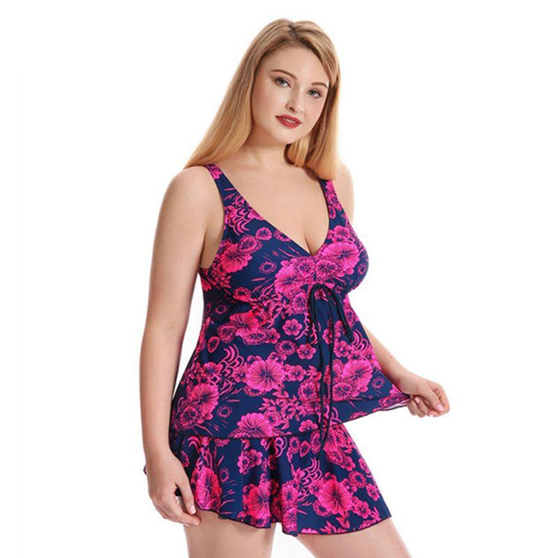 Plus Size One Piece Swimsuit Skirt 2017 Push Up Swimwear Women Dress Bathing Suit Large Size Product For Plus Size Ladies