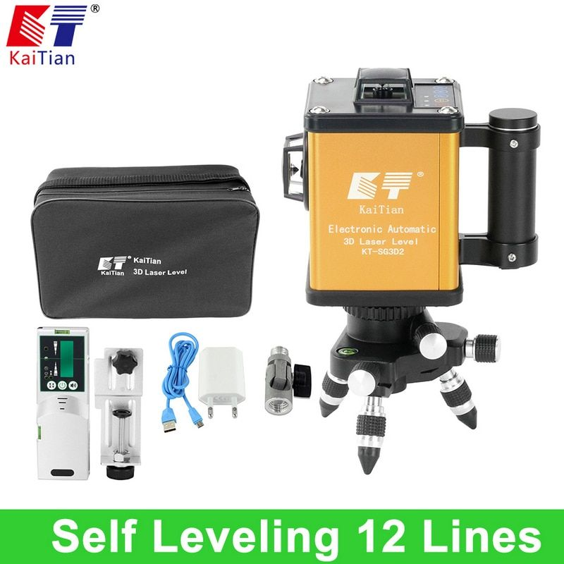 KaiTian Laser Level Self Leveling 3D 12 Lines Green Electronic Automatic Outdoor 360 Rotary Vertical Horizontal Battery Receiver