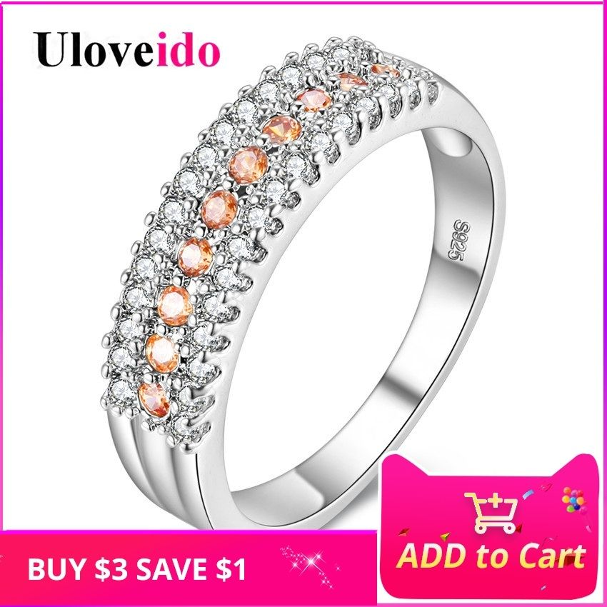 Uloveido Rings for Women Silver Color Engagement Ring with Stone Wedding Jewelry Crystal Women's Accessories Decorations Y014