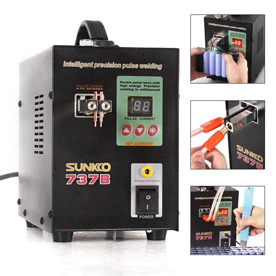 SUNKKO 737B battery spot welder 1.5kw precision pulse spot welder led light welding machine used 18650 battery pack spot welders