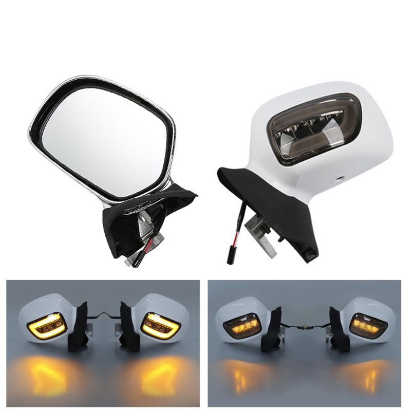 Motorcycle Rearview Mirrors W/ LED Turn Signals Smoke Lens For Honda Goldwing GL1800 01-12