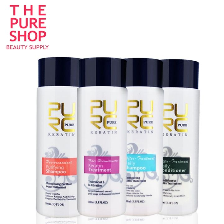 Brazilian keratin treatment hot sale 100ml x 4 pcs set for keratin hair straightening free shipping keratin treatment reviews