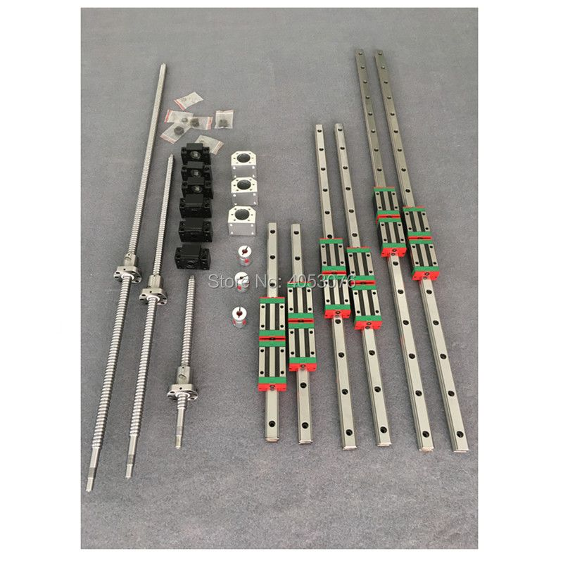 HGR20 12pcs HGH20CA Square Linear guide rail sets + ballscrew SFU1605 ball screws+BK/BK12+Nut housing+Coupler for cnc part