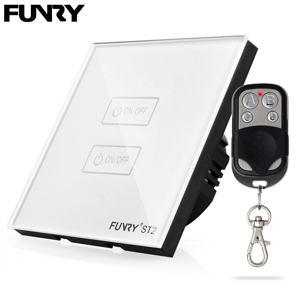 Funry ST2 2 Gang UE Standard Écran Tactile Smart Switch Surface Étanche En Verre Trempé 170-240 V RF433MHz Éclairage tactile Interrupteur