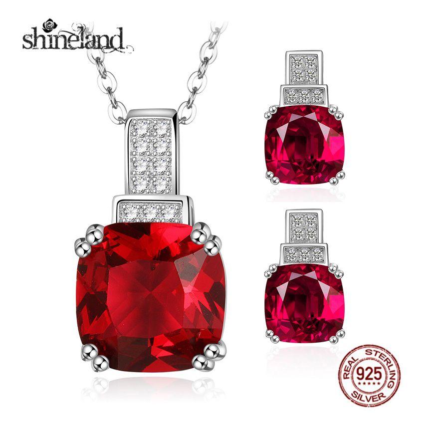 Shineland Trendy Luxury Square Geometry Pendants Jewelry Sets 925 Sterling Silver Necklace Earring Sets For Women Fine Jewelry