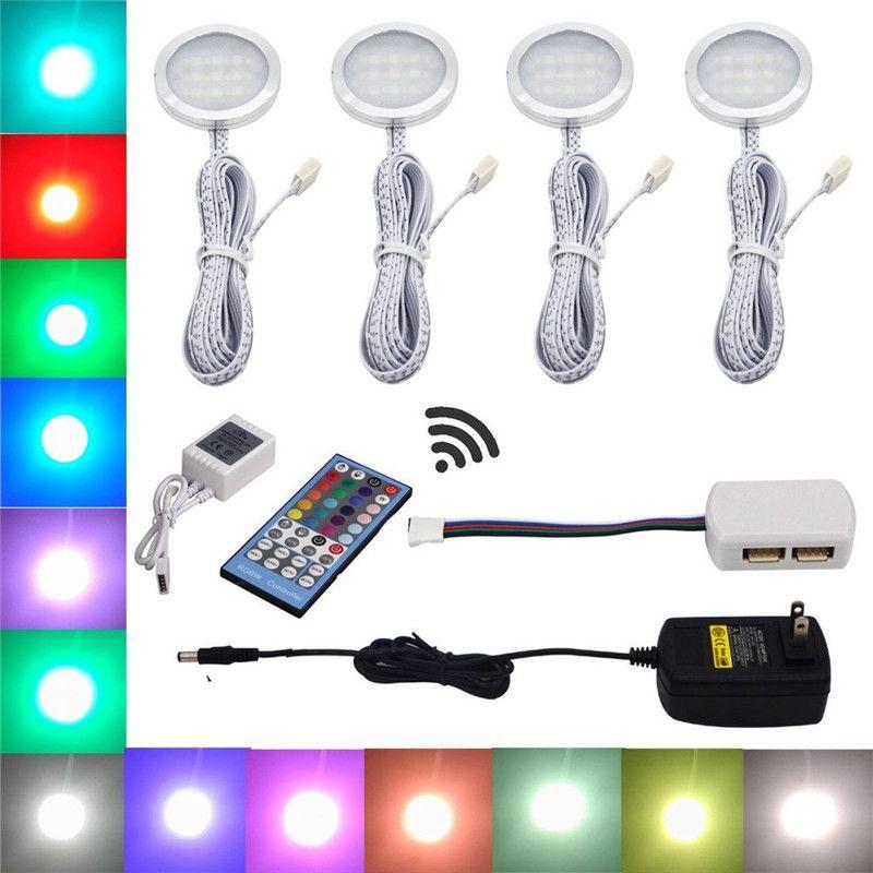 Aiboo RGBW RGB + blanc LED sous les lumières de l'armoire 4 lumières de rondelle avec télécommande Dimmable pour l'éclairage de décoration de cuisine
