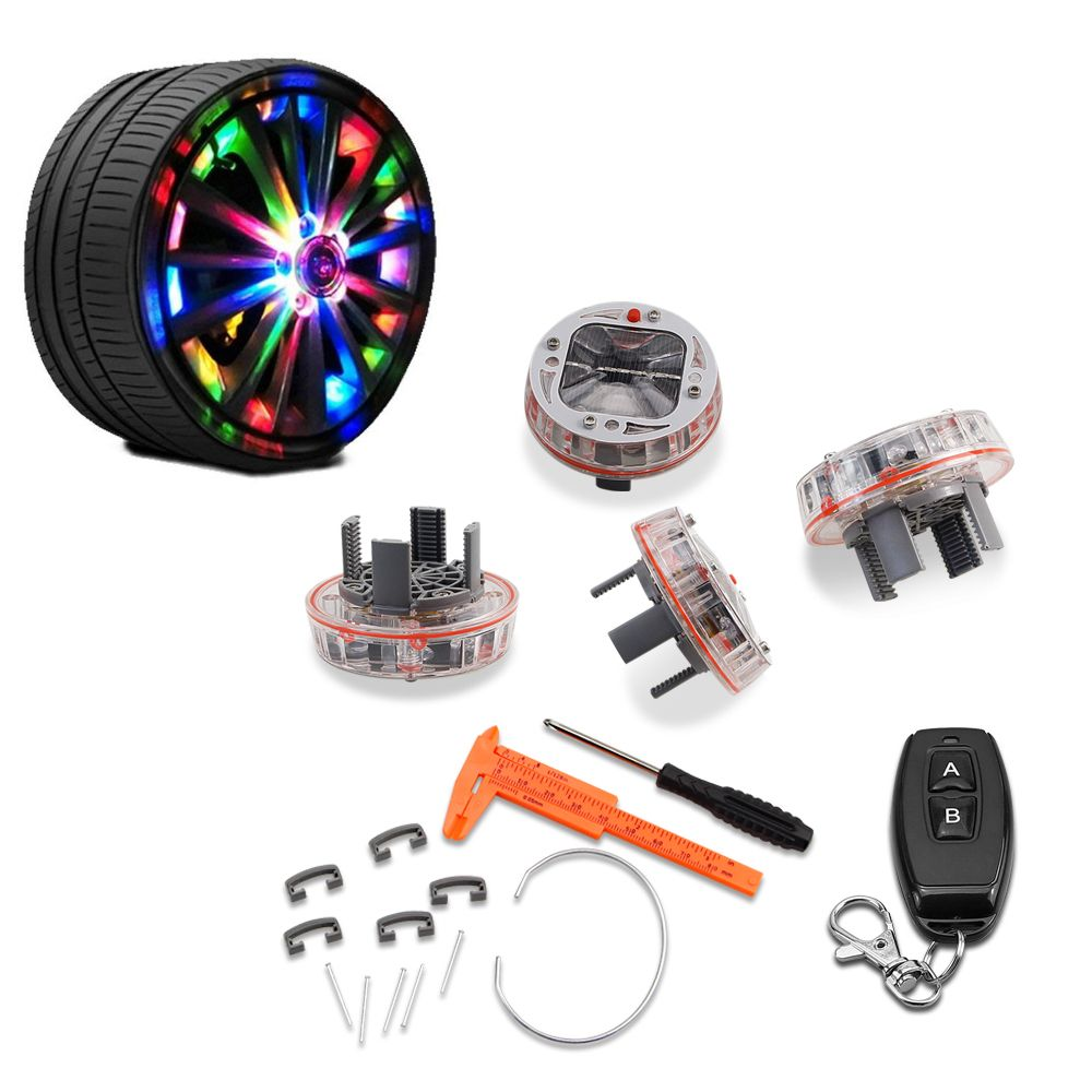 GEETANS 4 PCS/lot voiture décoration roue pneu moyeu énergie solaire Auto Flash décoloration LED Auto style lumière étanche lampe AJ