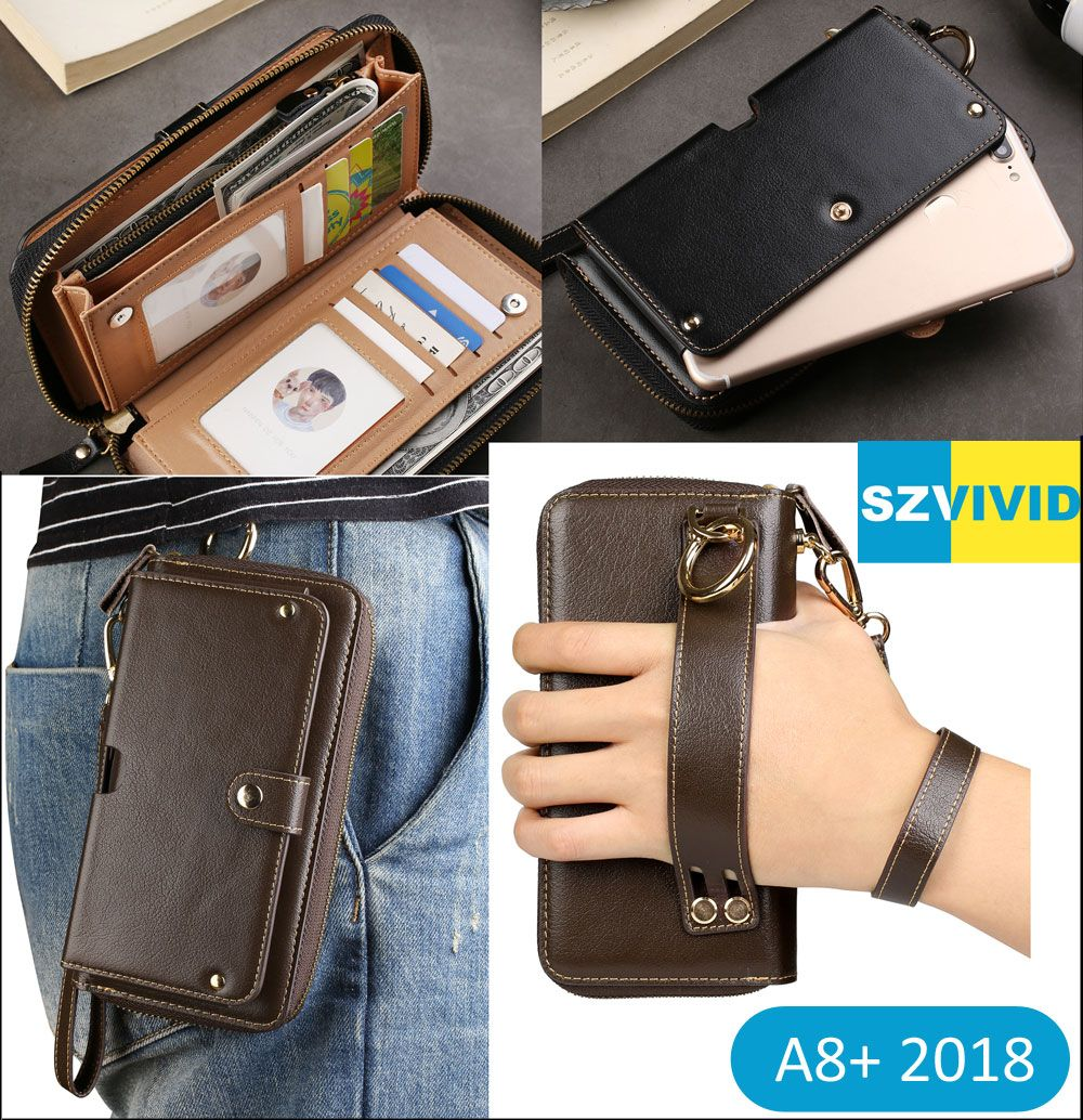 Purse Handbag Wallet Leather Bag For Samsung Galaxy A8 Plus 2018 J5 J7 2017 Pro Clutch Wristlet Waist Phone Bags Pouch Case