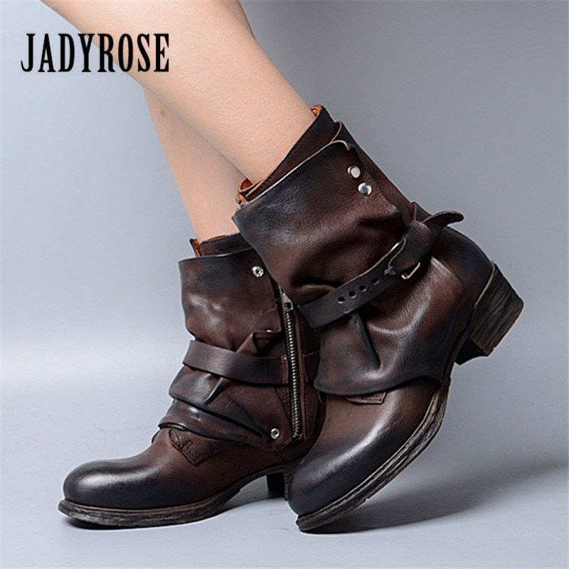 Jady Rose Fashion Brown Women Ankle Boots Autumn Winter Flat Boots Genuine Leather Martin Botas Mujer Strap Platform Shoes Woman