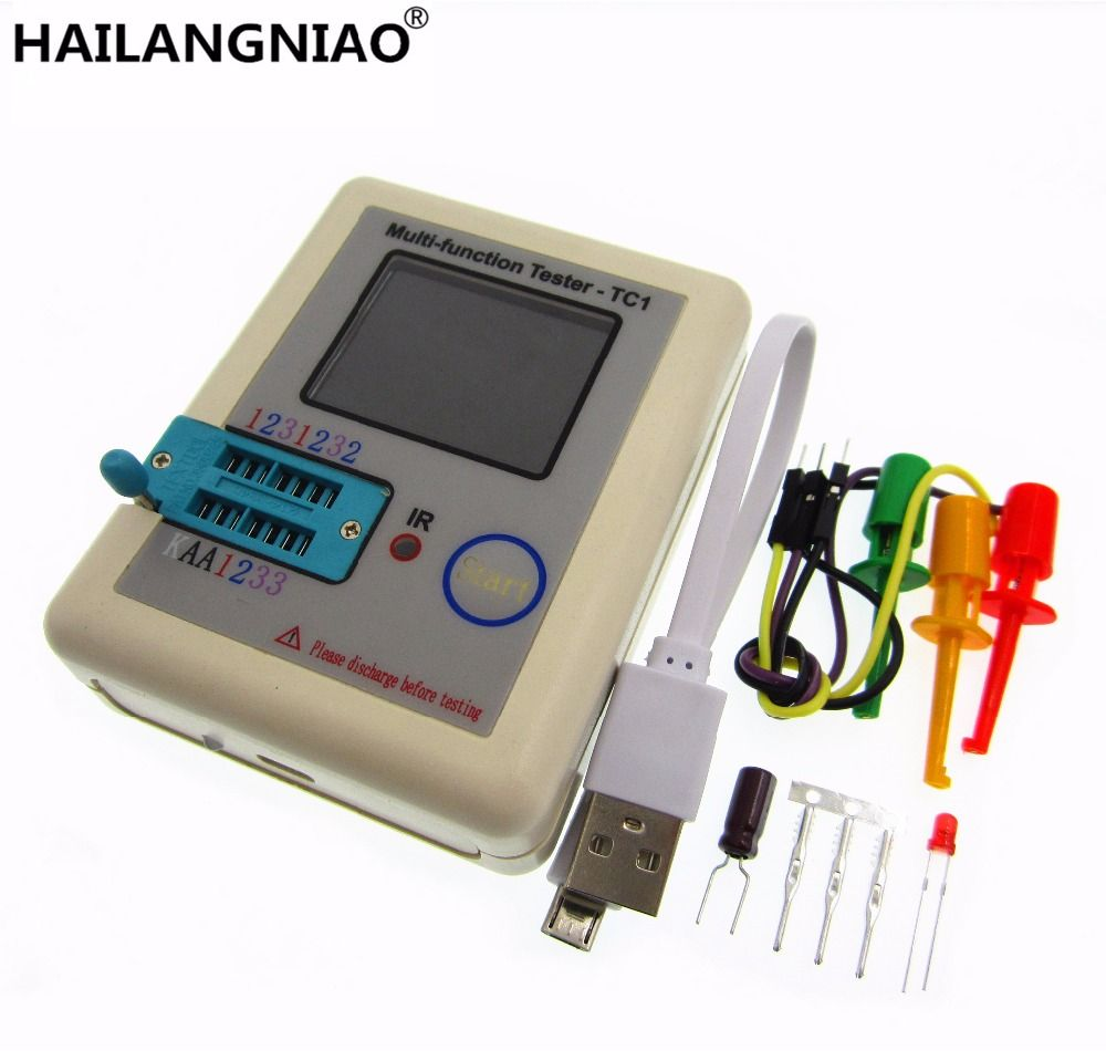 HAILANGNIAO 1set latest 12864 LCD Pocketable Transistor tester LCR - TC1 full color graphics display ESR meter tester in case