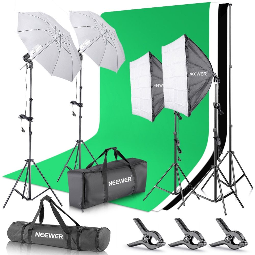 Neewer 2.6Mx3M/8.5ftx10ft Background Support System+800W 5500K Umbrellas Softbox Lighting Kit for Photo Studio Product/Portrait