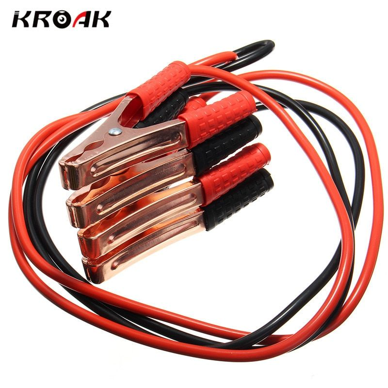 Kroak Black Red 2M 500AMP Copper Wire Auto Battery Line Emergency Cable Line Cable Clip Power Charging Jump Start Leads