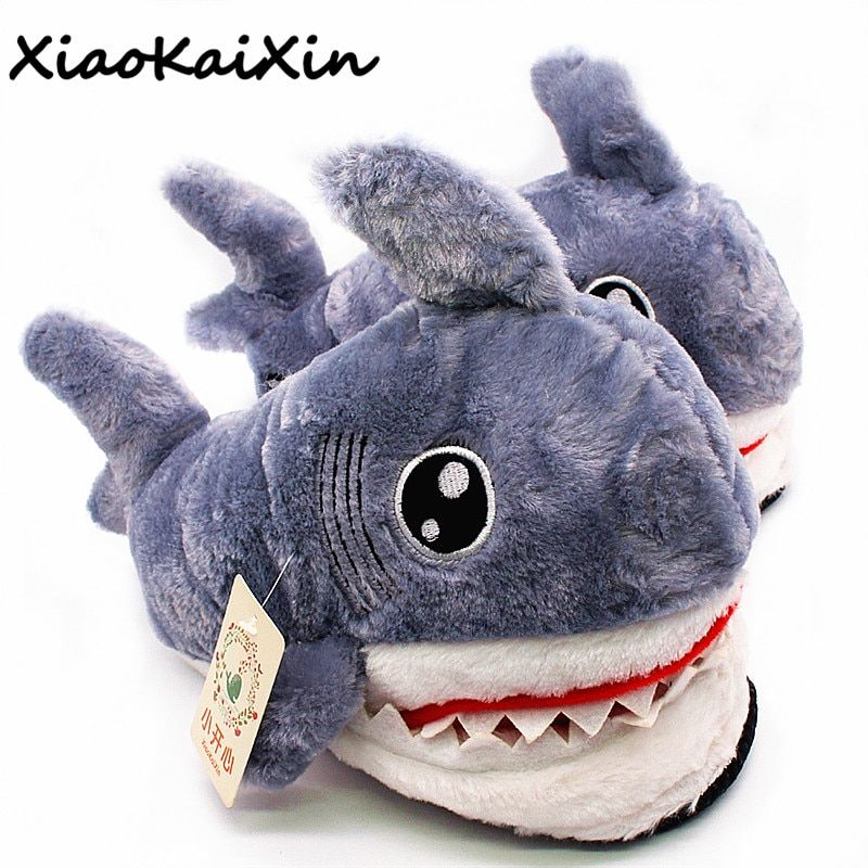 Winter Super Animal Funny Shoes For Men and Women Warm Soft Bottom Home&House Indoor Floor <font><b>Shark</b></font> Shape Furry Slippers Shallows