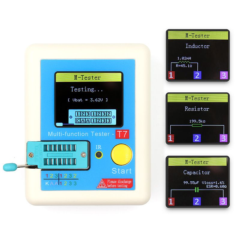 LCR-T7 New Transistor Tester TFT Diode Triode Capacitance Meter LCR ESR meter NPN PNP MOSFET IR Multifunction tester multimeter