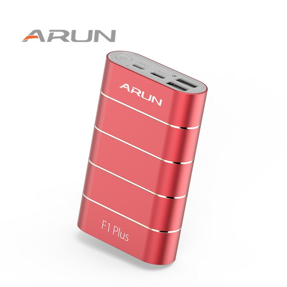 ARUN F1Plus powerbank Original QC3.0 technology Dual USB ports Red 10050mah Power Bank For IPhone Samsung IPad Tablet