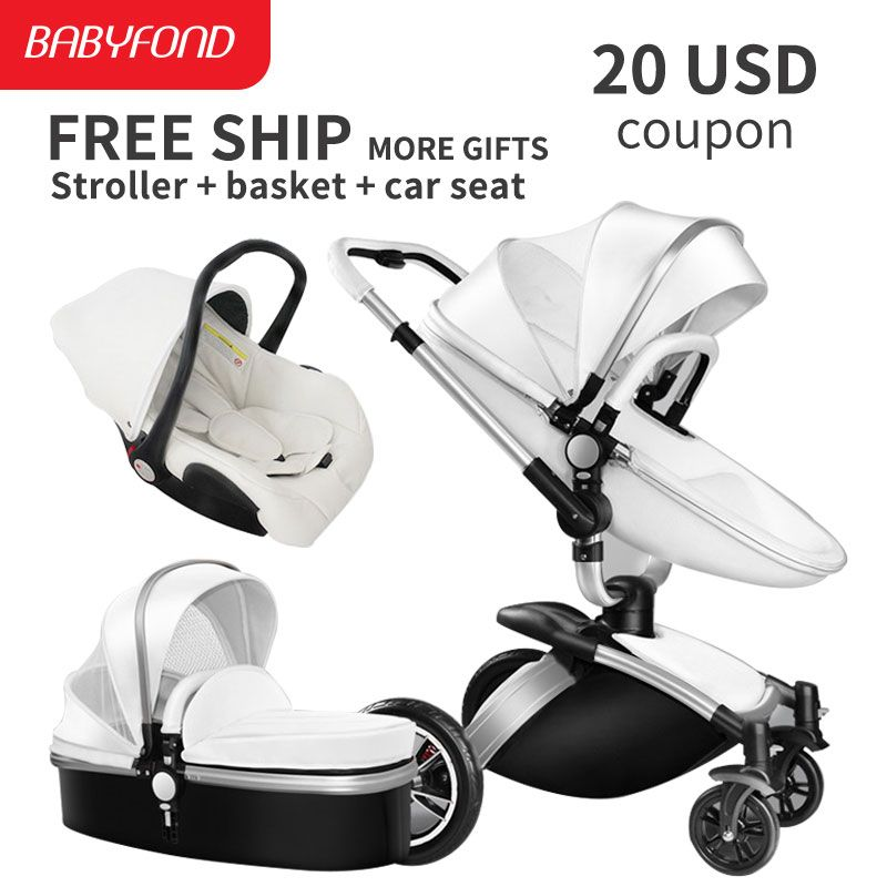 Sliver frame Aiqi Brand Top Sell Baby Strollers 360 Rotate High Quality Leather White Black Color 3 In 1 Carriage many colors