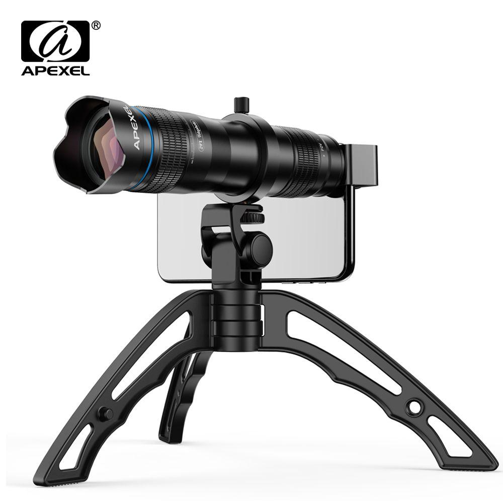 APEXEL en option HD 36X télescope en métal téléobjectif monoculaire mobile lentille + selfie trépied pour Samsung Huawei tous les Smartphones