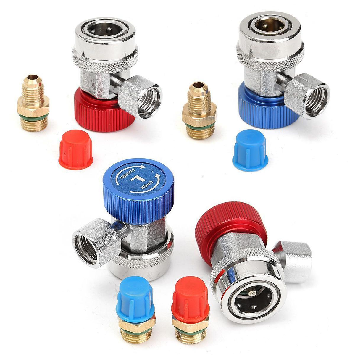 R134A High Low Adjustable Quick Coupler Connector Adapters Car AC Air Conditioning Refrigerant Manifold Gauge Auto Set Mayitr