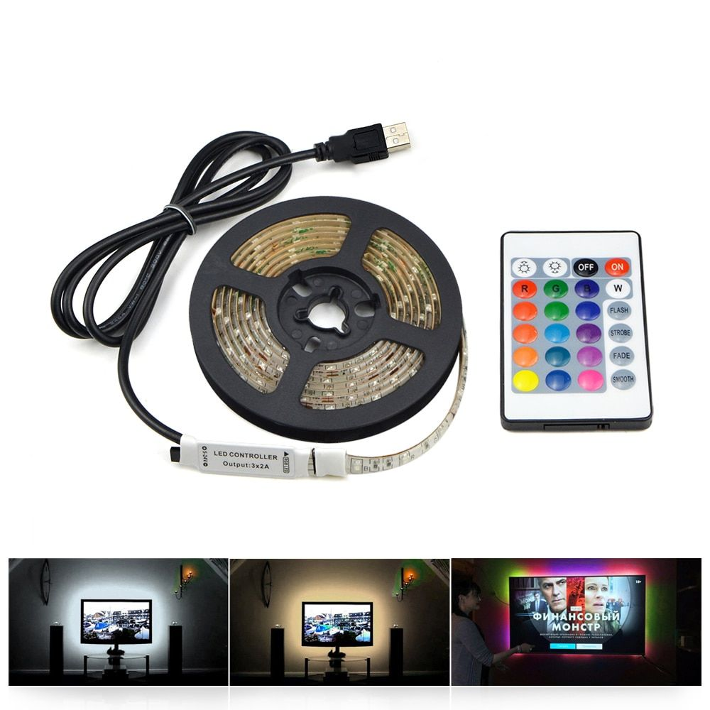 1m 3m 5m IP20 3528 SMD DC 5V USB charger power supply LED strip light RGB remote control USB cable adapter LED lamp Decor light