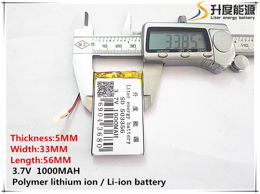 5pcs [SD] 3.7V,1000mAH,[503356] Polymer lithium ion / Li-ion battery for TOY,POWER BANK,GPS,mp3,mp4,cell phone,speaker