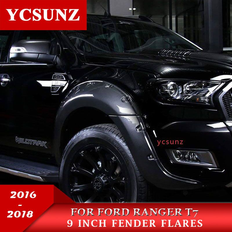 9 Inch Carbon Fiber Fender Flares Mudguards Wheel Arch For Ford Ranger T7 Wildtrak 2016 2017 2018 Double Cabin