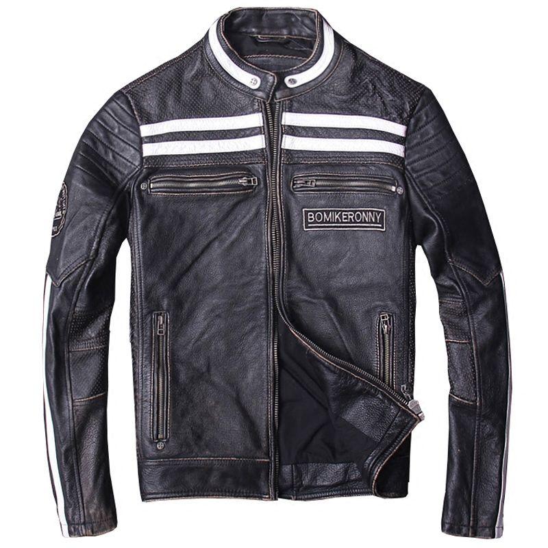 2018 Vintage Black Men Biker's Leather Jacket Plus Size XXXL Real Cowhide Slim Fit Russian Leather Motorcycle Coat FREE SHIPPING