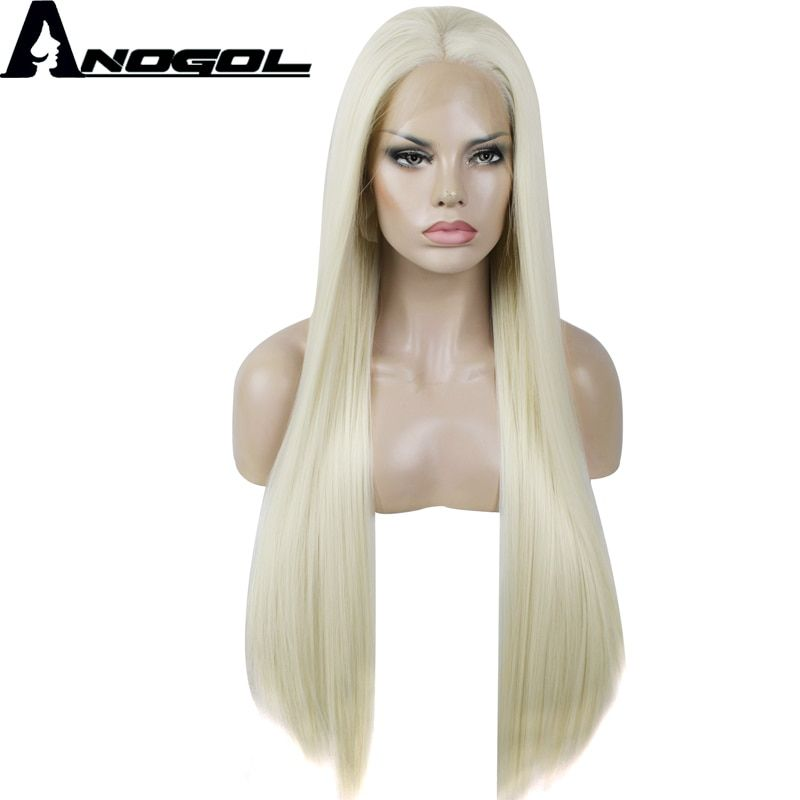 Anogol Natural Full Hair Wigs 613 Platinum Blonde Long Silky Straight 180% density Synthetic Lace Front Wig For White Women