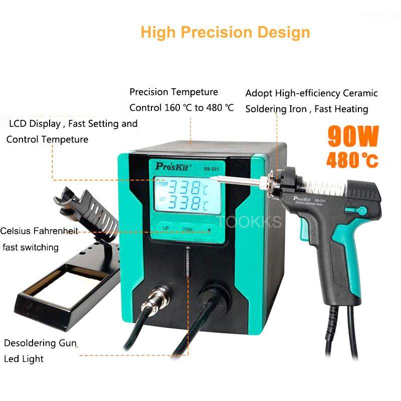 2019 neue Release Pro'sKit SS-331H ESD LCD Digitale Elektrische Entlötpumpe BGA Entlöten Saug Vakuum Solder Sucker Gun