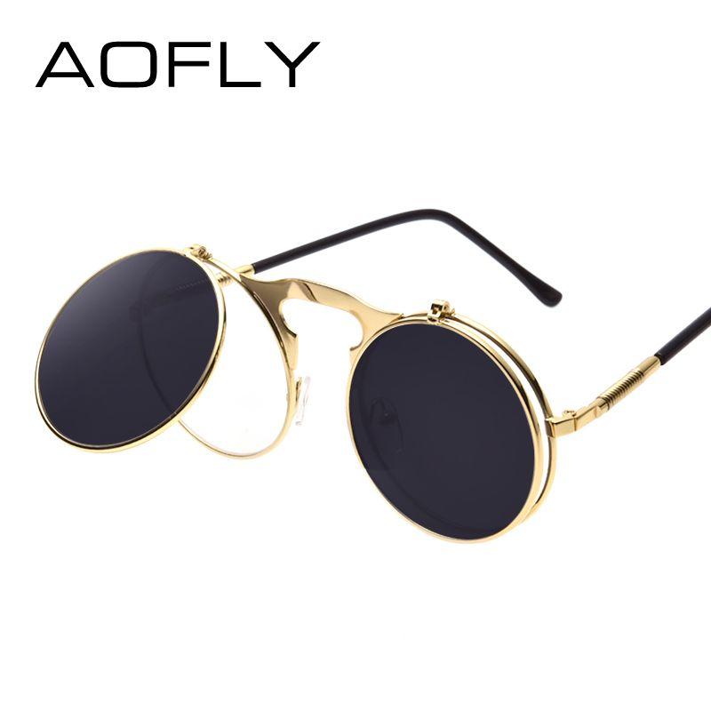 VINTAGE STEAMPUNK lunettes de soleil rond Designer vapeur punk métal OCULOS de sol femmes revêtement lunettes de soleil hommes rétro cercle lunettes de soleil