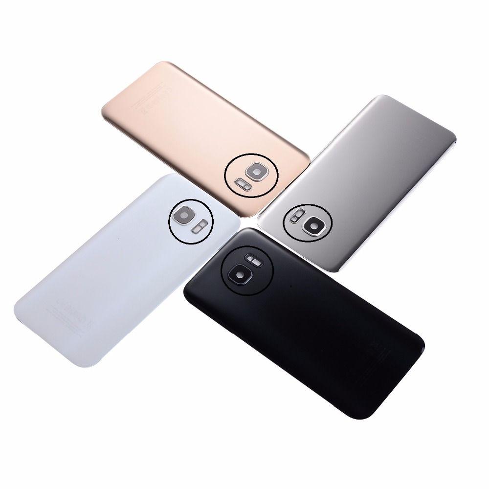 For Samsung S7 G930 G930F S7 Edge G935 G935F Housing Battery Glass Back Cover Camera Lens Cover+Sticker