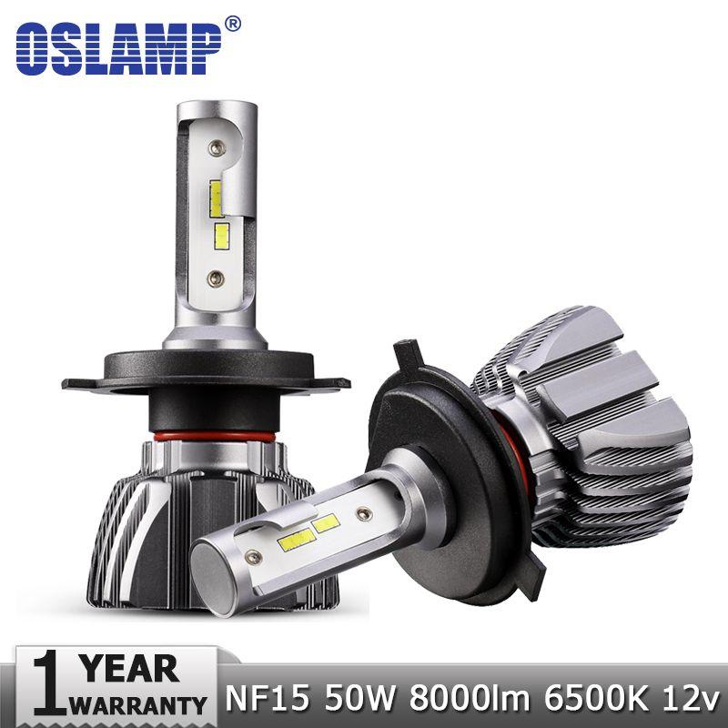 Oslamp H4 H7 H11 H1 H3 9005/HB3 9006/HB4 LED Car Headlight Bulbs Hi-Lo Beam 50W 8000lm CSP Chips 6500K Auto Headlamp Fog Lights