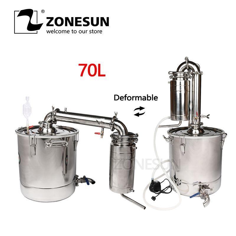 ZONESUN 70L Wine Distiller Barware Brewing Machinery Stainless Steel Wine Making Boiler Gal Transformer Alcohol Brew Kit Device