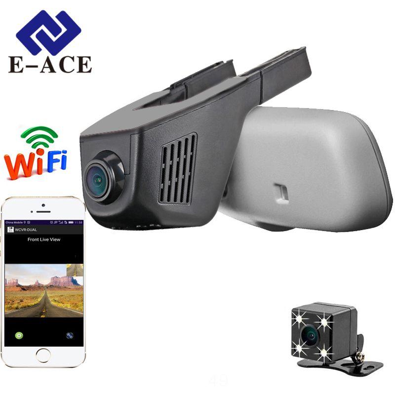 E-ACE Hidden Car Dashcam WIFI DVRs Dual Camera Lens Registrator 1080P Digital Video Recorder 170 Degree Camcorder Night Version