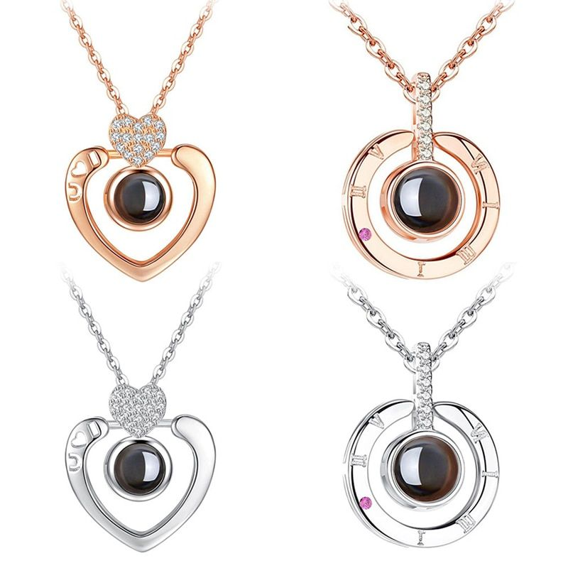 New Rose Gold Silver I love you 100 Lanugage Necklace Love Memory Projection Heart Necklace Birthday Gift Drop Shipping