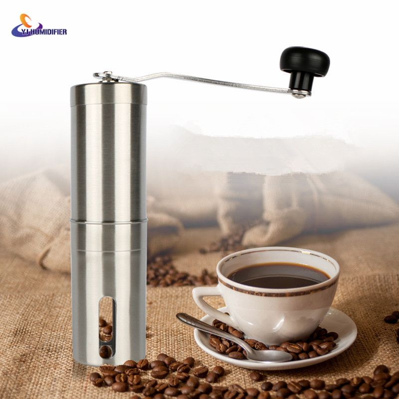 YJ HUMIDIFIER Coffee Grinder Stainless Steel Silver Hand Manual Handmade Coffee Bean Grinder Mill Kitchen Grinding Tool 30g