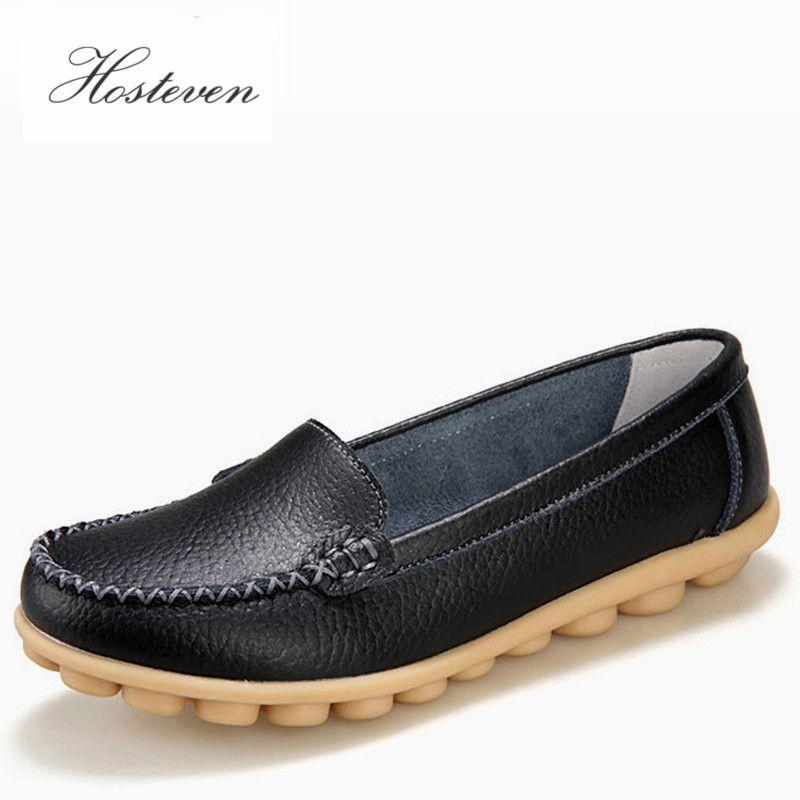 Hosteven femmes chaussures en cuir véritable baskets décontracté femmes mocassins sans lacet femme appartements chaussure à talons bas mocassins chaussures