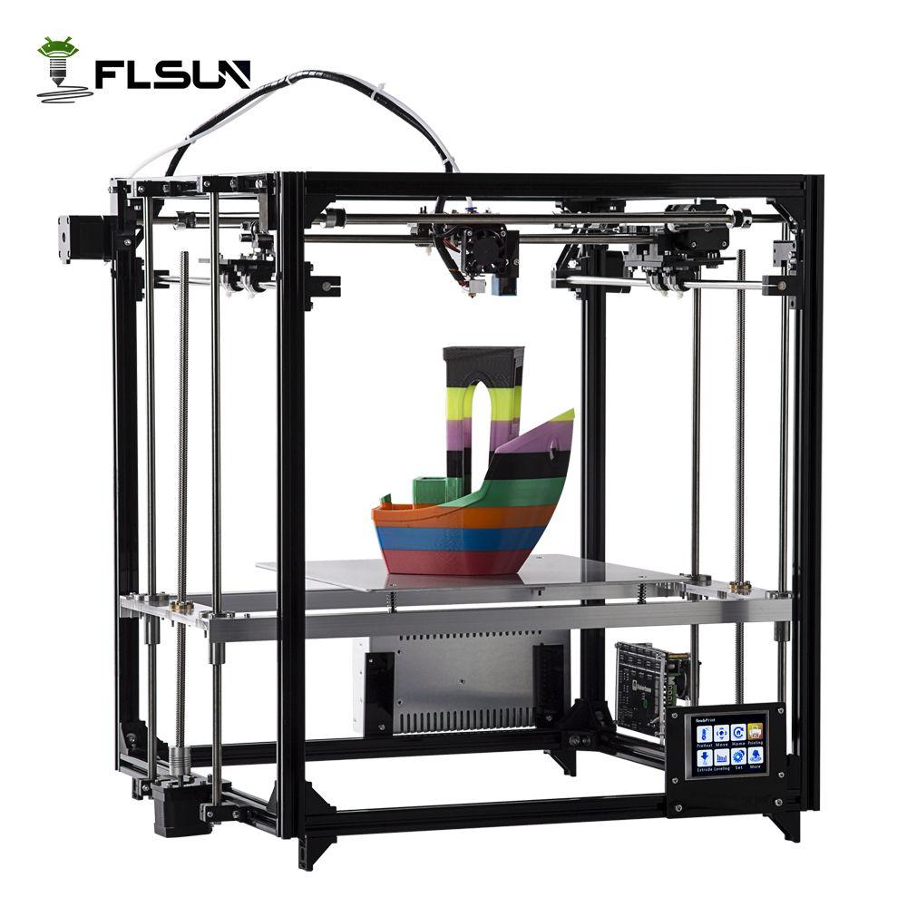 Flsun 3D-принтеры двойной экструдер версия широкоформатной печати Размеры 260*260*350 мм автоматическое выравнивание с подогревом Сенсорный экран ...